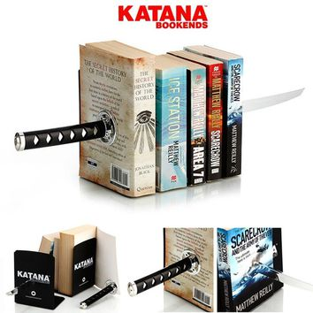 Katana Bookends Japanese Samurai Knife Sword Bookend Magnet Magnetic Books Attracting