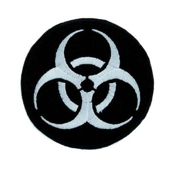 ac spbest Toxic White Biohazard Sign Patch Iron on Applique Horror Clothing Zombie Apocalypse