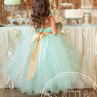 Mint Green Tutu Dress with Gold Sash