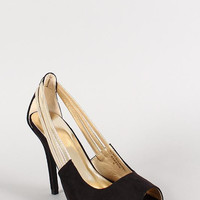 Metallic Strap Faux Suede Peep Toe Pump Color: Black, Size: 7.5