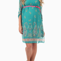 Jade Paisley Printed 3/4 Sleeve Belted Maternity Dress