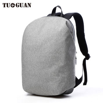 New 2017 Simple Casual Famous Brand Zipper Men's Daily Backpack Antiefproof Leather Bottom Laptop Backpack Lightweight Bagpack