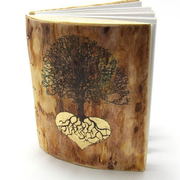 Personalized Wood Guest Book Wedding Rustic Journal with Tree of Life and gold Heart