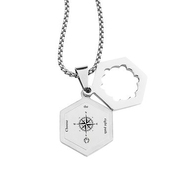 Life Compass Double Hexagram Necklace with Cubic Zirconia by Pink Box - RIGHT PATH