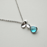White Gold Orchid Necklace with Aqua teardrop, gift, wedding jewelry, mother, wife, sister, daughter, bridesmaid jewelry gift, birthday