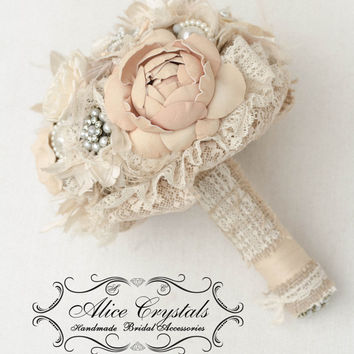 Brooch bouquet, rustic Jeweled Bouquet. Burlap bouquet.