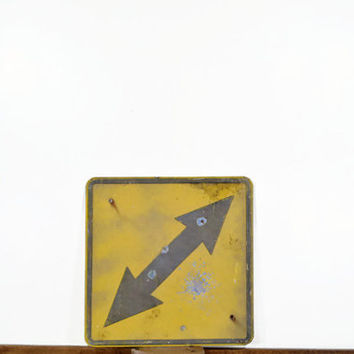 Vintage Arrow Sign, Metal Road Sign, Double Sided Arrow Sign, Rustic Sign, Old Metal Sign, Highway Sign, Street Sign, Yellow, Gray