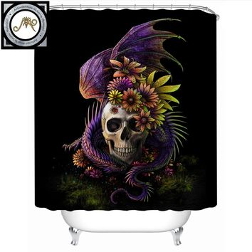 Flowery Skull Shower Curtain 3D Waterproof Bath Curtain With Hooks