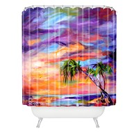 Ginette Fine Art Florida Palms Beach Shower Curtain
