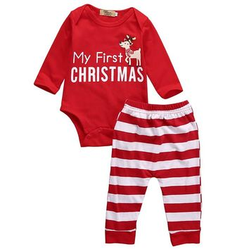 Xmas Newborn Baby Clothes Set Boys Girls Romper Jumpsuit Bodysuit + Pants 2 Pieces Set Baby Clothing Outfits Red Christmas Gifts
