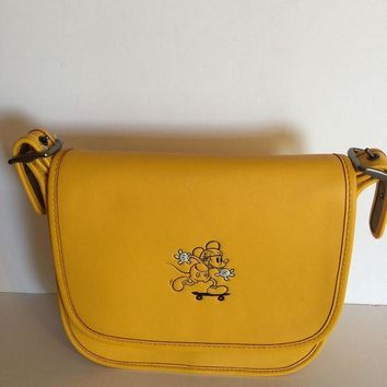 CREY9N Disney X Coach Mickey Leather Patricia 23 Shoulder Bag Banana New with Tags