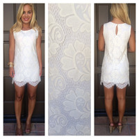 London Ivory Lace Shift Dress