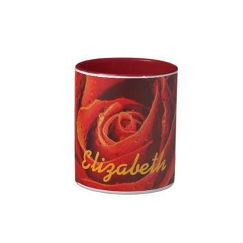 Personalized red rose close-up with morning dew Two-Tone coffee mug
