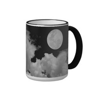 FULL MOON CLOUDS BLACK AND WHITE COFFEE MUG