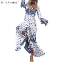 2017 Limited Bohemian Dress M.h.artemis Elegant Color Block Folk Print Women Dress Vestidos Maxi Ladies Boho Fall New Style