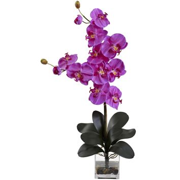Artificial Flowers -Double Giant Phalaenopsis With Vase Silk Flowers