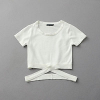Summer Sexy Round-neck Slim Short Sleeve Knit Tops T-shirts [8173438919]