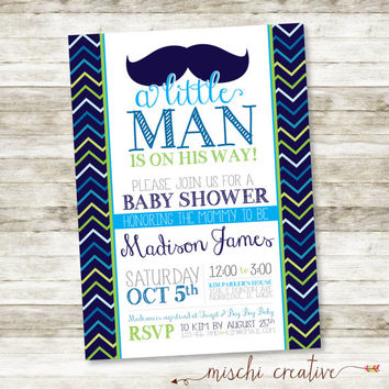 "Little Man Moustache and Chevrons Baby Shower Printable Invitation in Blues and Greens 5"" x 7"""