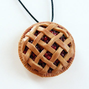Cherry and Blueberry Pie Necklaces - FREE SHIP -  Made to Order