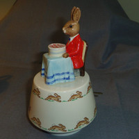 "Royal Doulton Bunnykins, Happy Birthday Music Box 7"" tall"