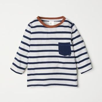 Striped Jersey Top - White/blue striped - Kids | H&M US