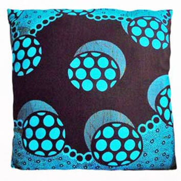 Blue Brown Circle African Print Cushion Pillow Cover 16x16 or 18x18 inches