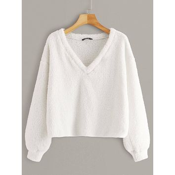 SHEINV-Neck Solid Teddy Pullover