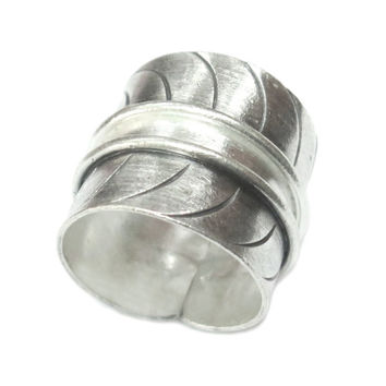Sterling Silver Wide Band ring, Handmade Silver Cuff Ring, Semi Shiny finish Engraved lines Wrap Tube Ring