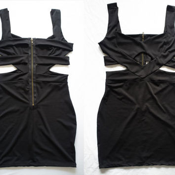 1990's Black cut out body con dress // size small // free shipping