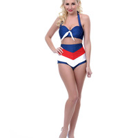 Navy, Red & White Striped Amelia Swimsuit Bottom - Unique Vintage - Prom dresses, retro dresses, retro swimsuits.