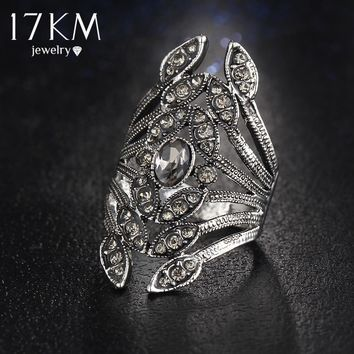17KM New Fashion Design Gun Black Color Crystal Flower Rings for Women Rhinestone Jewelry Punk anillo hombre bague