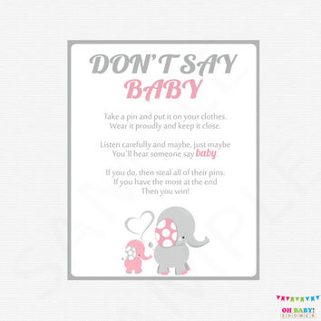 Don't Say Baby Elephant Baby Shower, printable pink gray baby shower games, baby shower sign, girl baby shower, instant download EL0005-lp