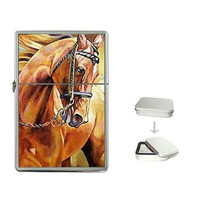 Brown Horse with Bridle on a FlipTop Cigarette Lighter & Box..NEW