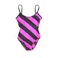 90s One Piece Swimsuit - 90s Striped Swimsuit - Size 7/8 Small - Neon Florescent - Vintage Swimsuit Pastel - Stripe Pink - 80s swimsuit