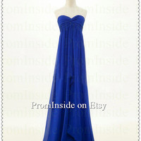 Long Chiffon Prom Dress / Simple Sweetheart Cheap Elegant Empire Navy Blue Prom Dress