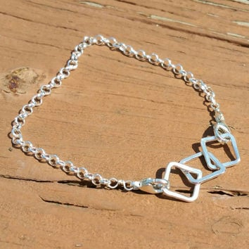 Small Squares Bracelet, Sterling Silver Bracelet, Linked Bracelet, Sterling Silver Chain Bracelet, Connected Squares  Maggie McMane Designs