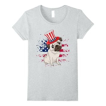 Fourth Of July Patriotic Pug T-Shirt Party Independence Day