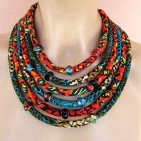 Multi Strand African necklace / fabric Statement necklace , African jewelry, Wax print fabric jewelry