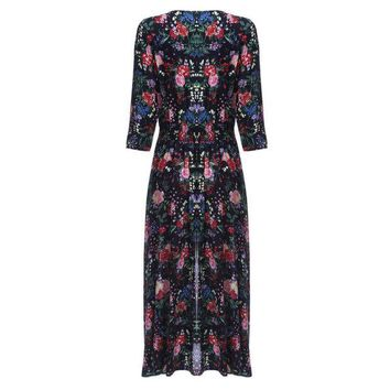 ONETOW Clearance Sale Retro Boho Half Sleeve Plunging Neck Floral Print Slit 2017 Women Summer Autumn Long Bohemian Dress Vestidos
