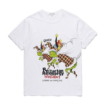 Mens DSM limited edition CDG PLAY COMME DES GARCONS Play White Re-tartan Re-energy Holiday Fashion T-Shirt
