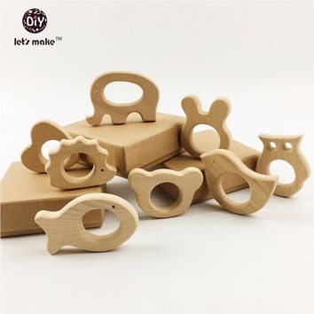Let's Make Baby Teether 8pcs Wood Nursing Teether Baby Teething Toy Teething Holder Toys Diy Gifts Wooden Chew Shower Gift