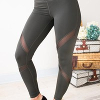 Rise Above Mesh Detail Athletic Pants in Olive