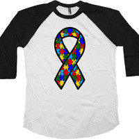 Autism Awareness T Shirt Support Gifts Autism Spectrum Aspergers Shirt Autism Ribbon Advocate Speaks 3/4 Sleeve Baseball Raglan Tee - SA772