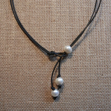 Handmade Freshwater Pearl and Leather Lariat and Choker Necklace - Free US Shipping
