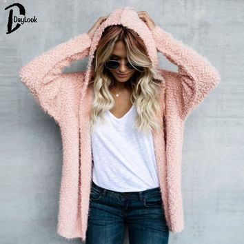 Trendy Daylook Fluffy Casual hooded cardigans Warm Outwears Women loose Pink jacket jumpers female winter autumn new chic coat AT_94_13