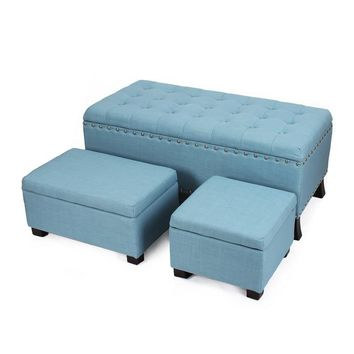 Blue Frabrice Set Of 3 Storage Ottoman / Bench [FT0047-1]