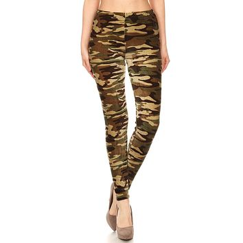 Women's Regular Camo Camouflage Pattern Velvet High Waisted Leggings