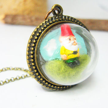 Miniature Terrarium Jewelry, Garden Gnome on Green Grass Hill Needle Felted , Antique Bronze Finish Fun Gift Idea