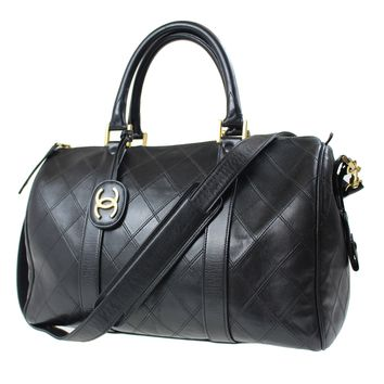 CHANEL Matelasse Quilted Boston Hand Bag Black Leather Vintage Authentic #E284 W