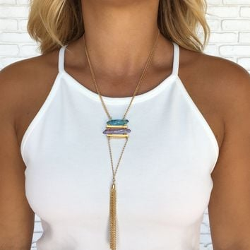 Crystal Healing Tassel Necklace in Gold
